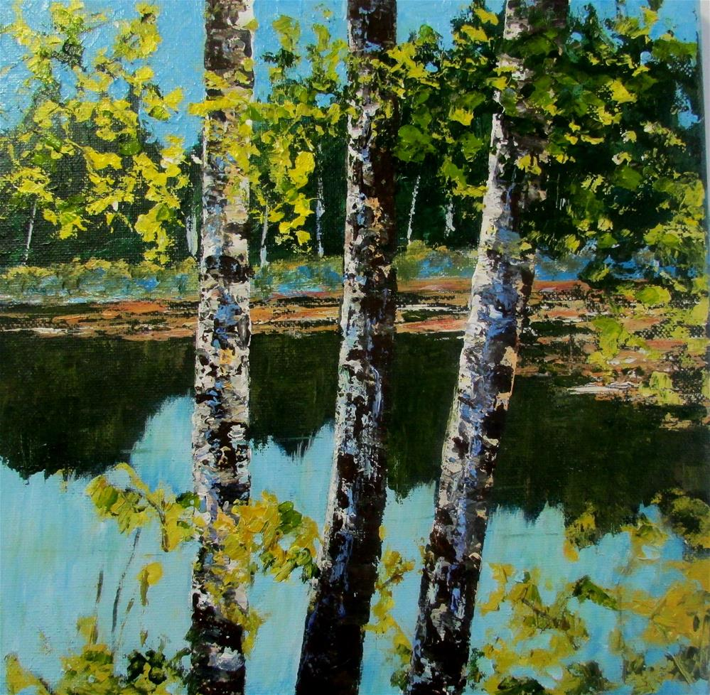 """12 x 12 inch acrylic Through the Birches"" original fine art by Linda Yurgensen"