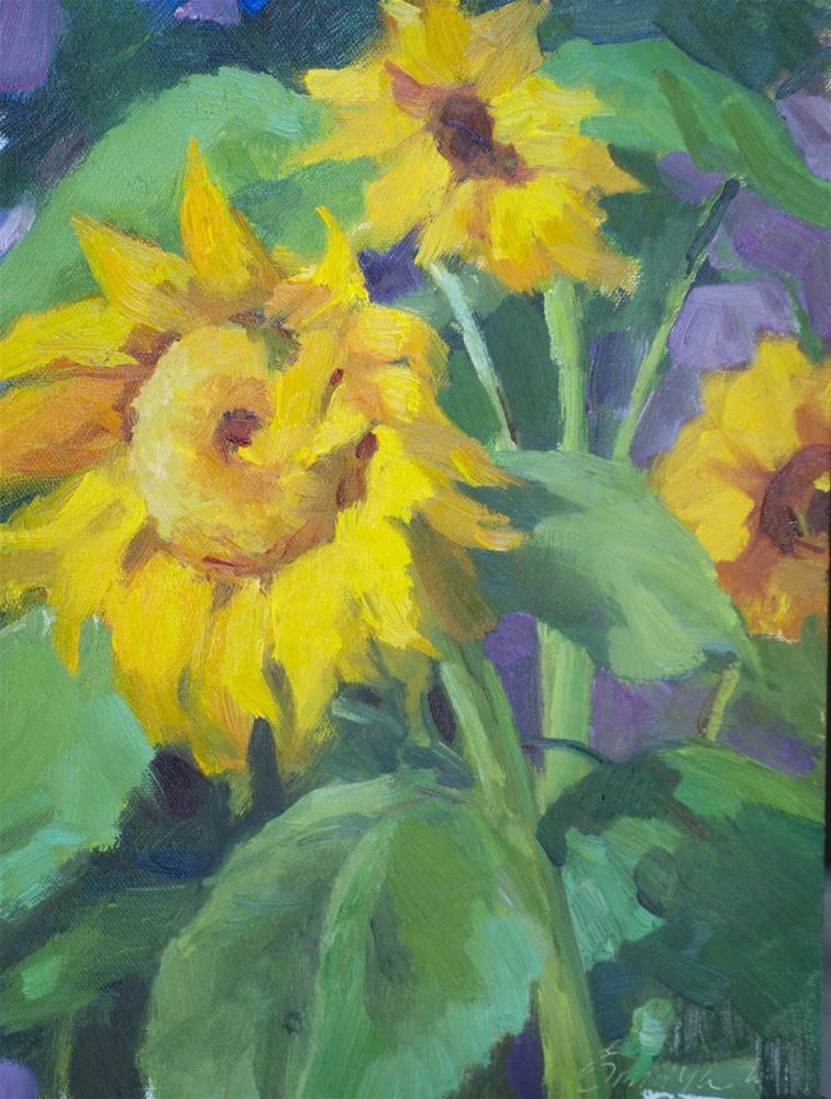 """Sunflowers Season oil on canvas board 9x12"" original fine art by Emiliya Lane"