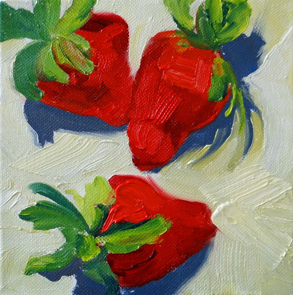 """Strawberries for Valentine's"" original fine art by Nancy Paris Pruden"