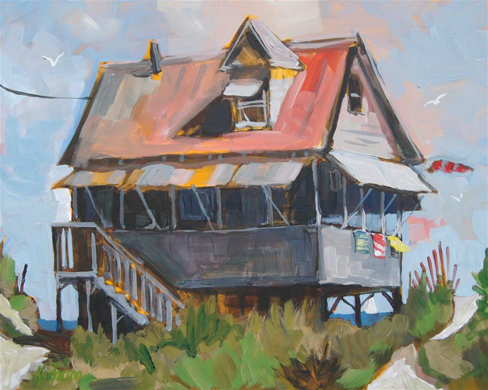 """Beach Cottage 20"" original fine art by Kevin Larson"
