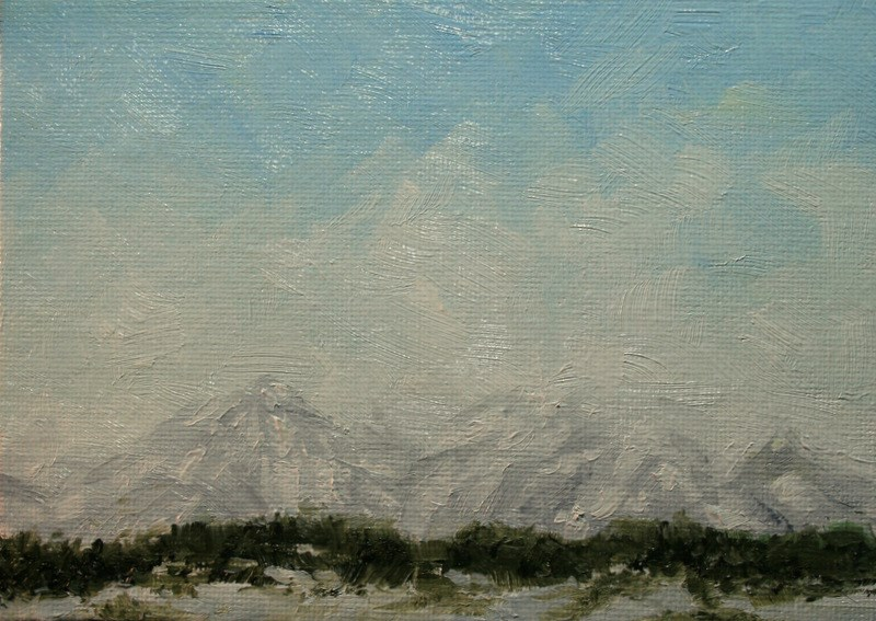 """Tetons in Winter"" original fine art by Jean Nelson"