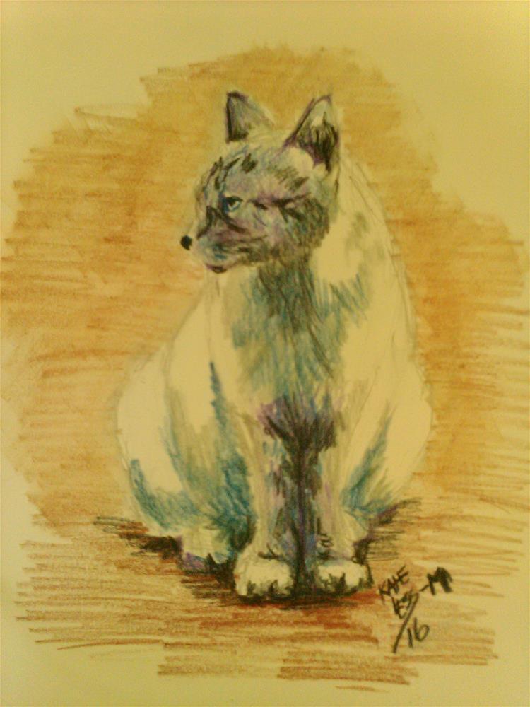 """Cat sketch : Positive Cat"" original fine art by Kate Less-Madsen"