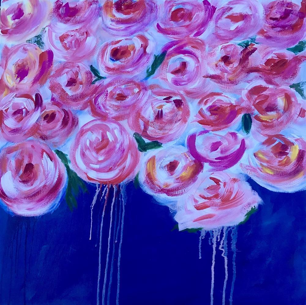 """FLORAL SERIES -#3 Pink Mama"" original fine art by Kimberly Balentine"