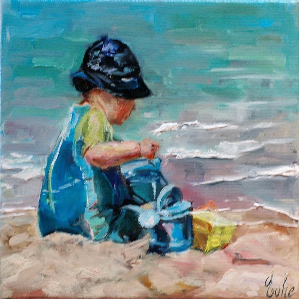 """""""Le petit garçon sur la plage"""" original fine art by Evelyne Heimburger Evhe"""