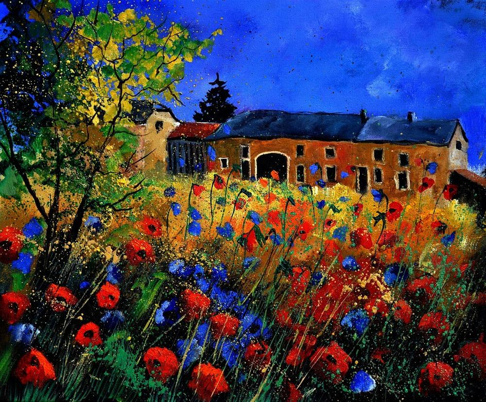 """red poppies in houroy"" original fine art by Pol Ledent"