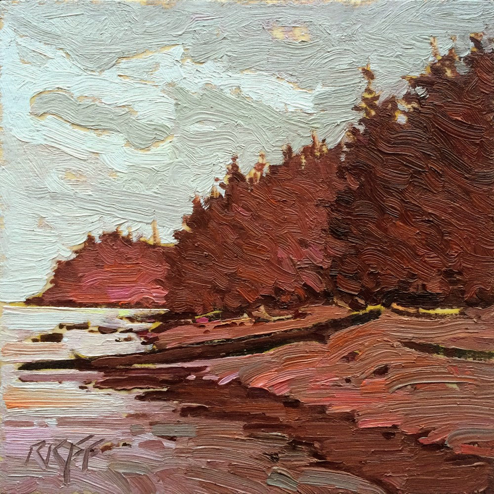 """West Coast Beach: 6x6 oil on panel"" original fine art by Ken Faulks"