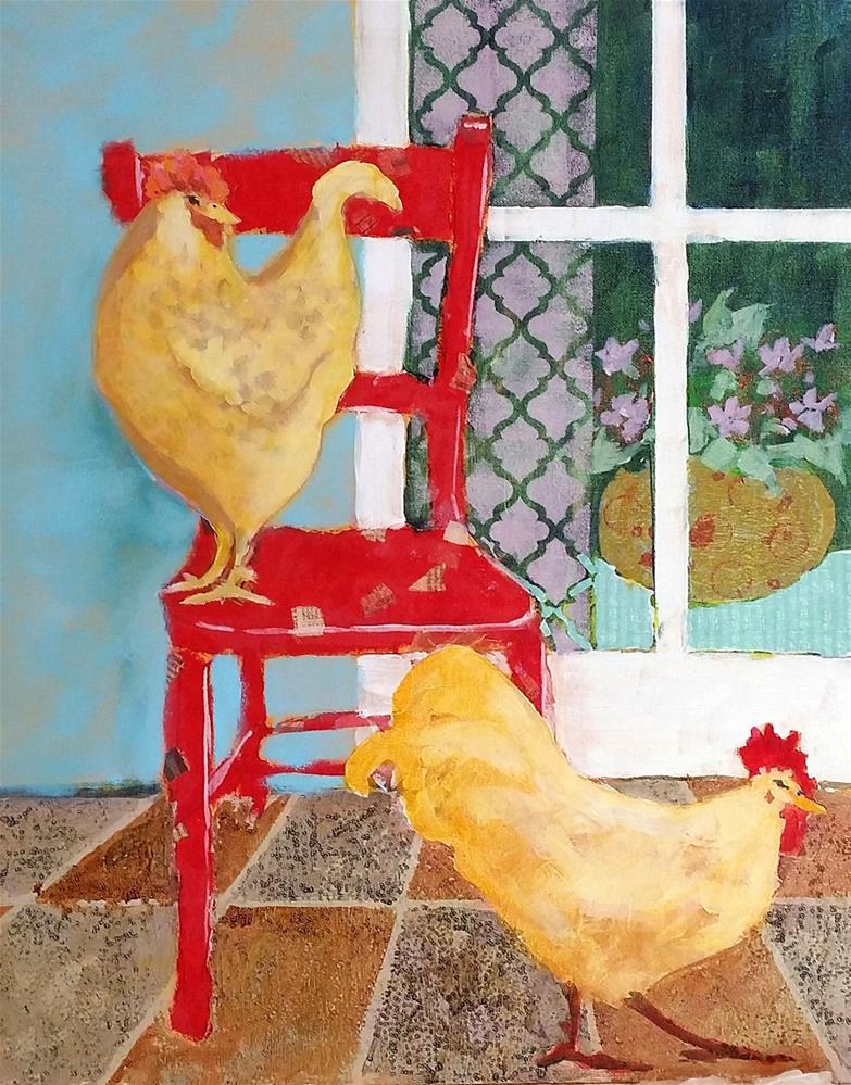 """Patio Chickens"" original fine art by De Selby"