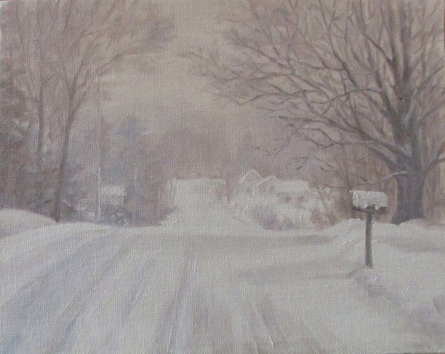 """Snowy Maine Drive"" original fine art by Christine Lewis"