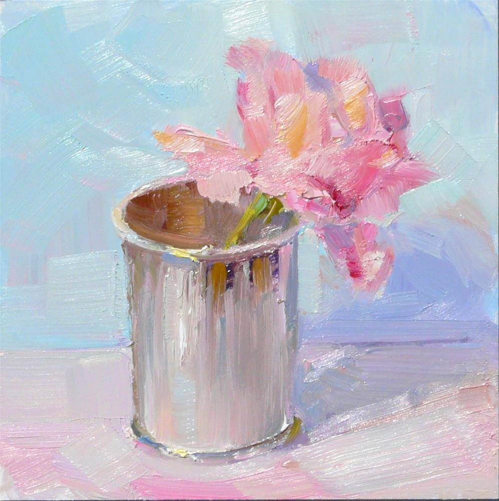 """Mint Julep Rose,still life,oil on panel,6x6,price$175"" original fine art by Joy Olney"