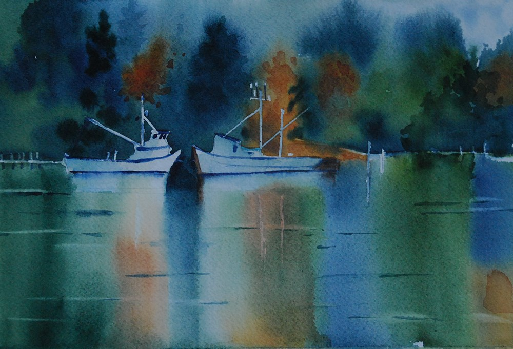 """Fishing Boats on Mats Mats Bay"" original fine art by Mary Anderson"