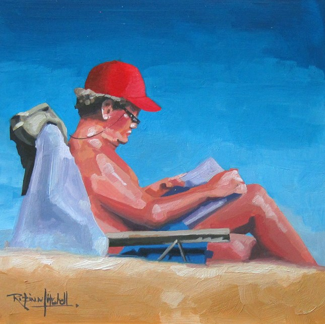 """""""No 772 Perfect place to Read"""" original fine art by Robin J Mitchell"""