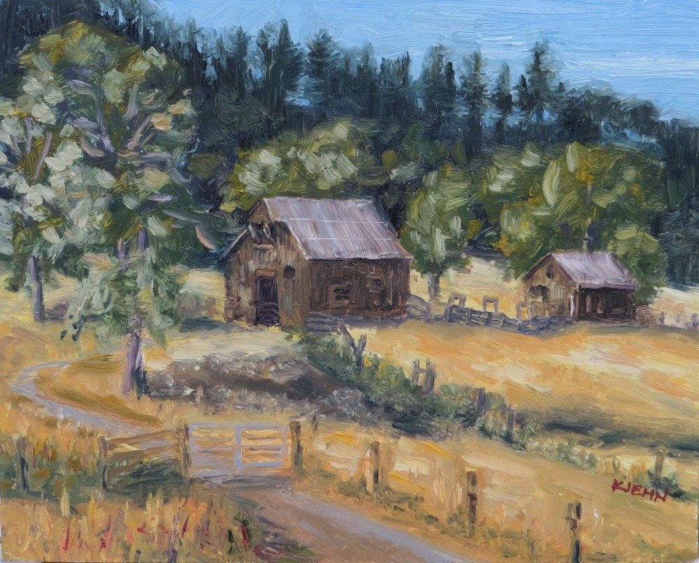 """Barns Near Umpqua"" original fine art by Richard Kiehn"