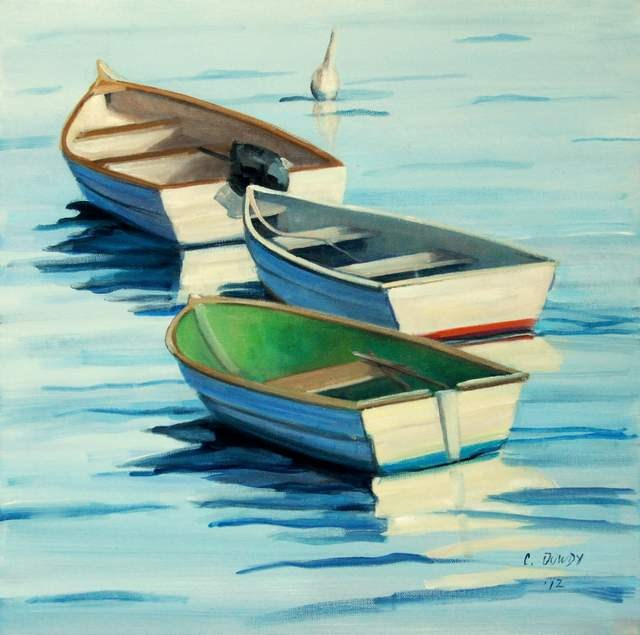 """Rowboats"" original fine art by Christina Dowdy"