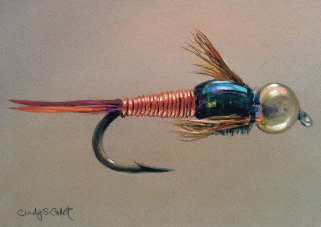 """Fly 6 - Copper John"" original fine art by Cindy Gillett"