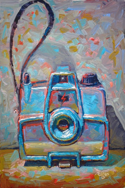 """Imperial Mark VII Camera in Blue"" original fine art by Raymond Logan"