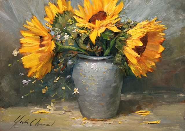 """""""Sunflowers in Blue"""" original fine art by Justin Clements"""