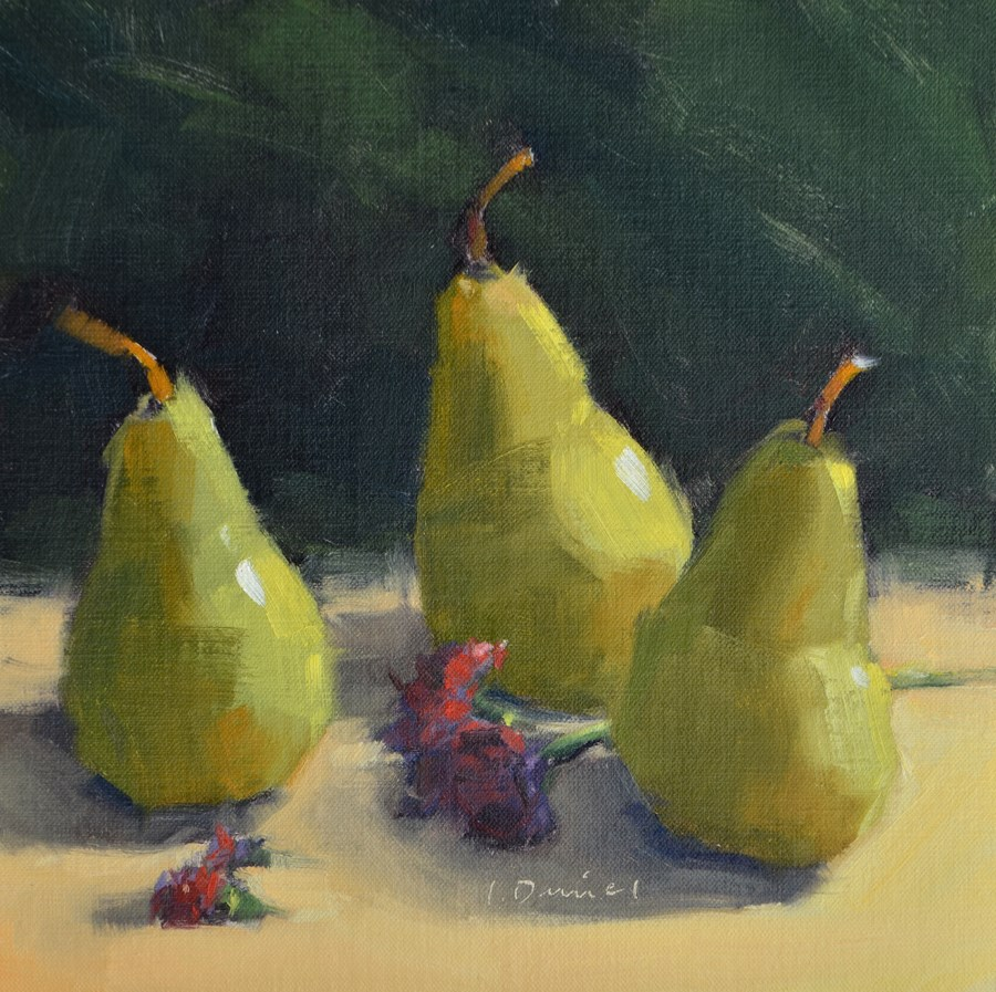 """Three Pears Standing - Thirty of 30 in 30!"" original fine art by Laurel Daniel"