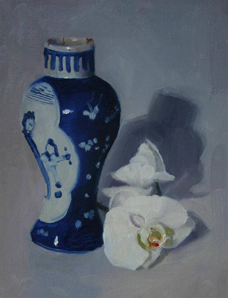 """Japanese vase with Orchid"" original fine art by Liz Balkwill"