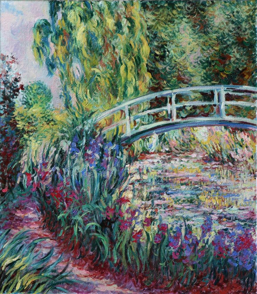 """Copy of Impressionist Claude Monet's painting of the Japanese Bridge in his garden at Giverny, France."" original fine art by Larisa Nikonova"