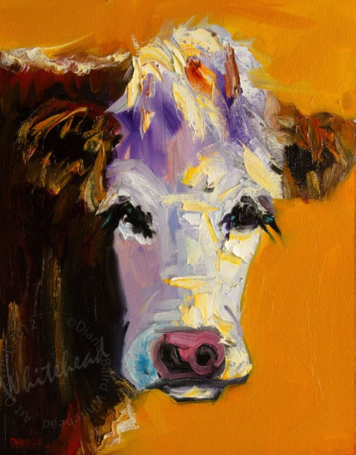 """ARTOUTWEST COW ART OIL PAINTING DIANE WHITEHEAD FINE ART"" original fine art by Diane Whitehead"