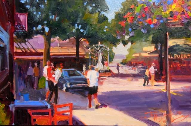 """Market Day in Edmonds  urban  plein air painting by Robin Weiss"" original fine art by Robin Weiss"