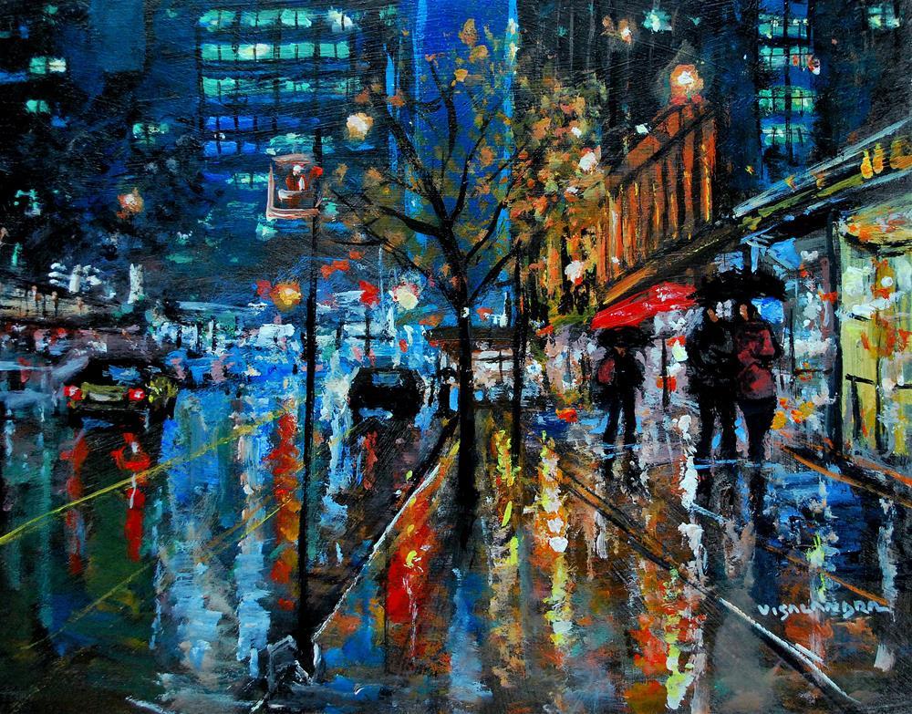 """New York city lights"" original fine art by vishalandra dakur"