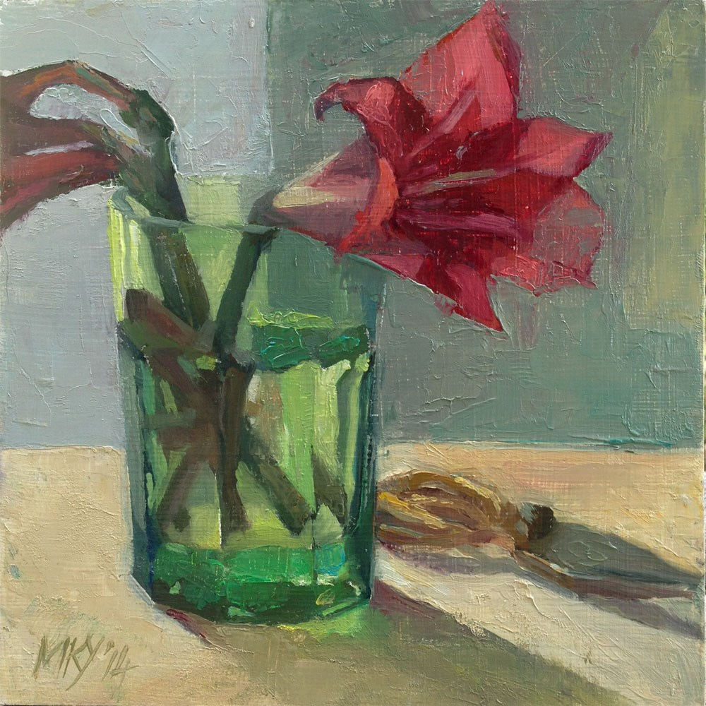 """Yoga Lily in Green Glass"" original fine art by Myriam Kin-Yee"