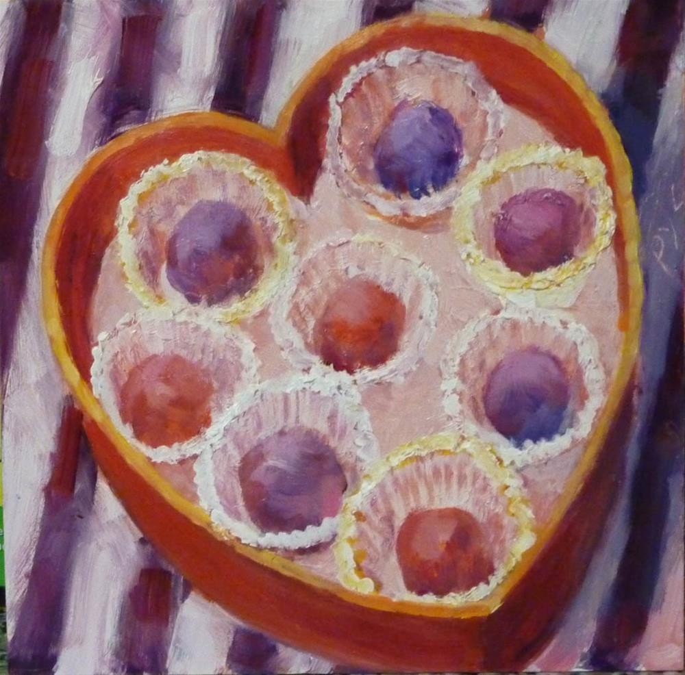 """Heart Candy Box of Truffles"" original fine art by Mary Pyche"