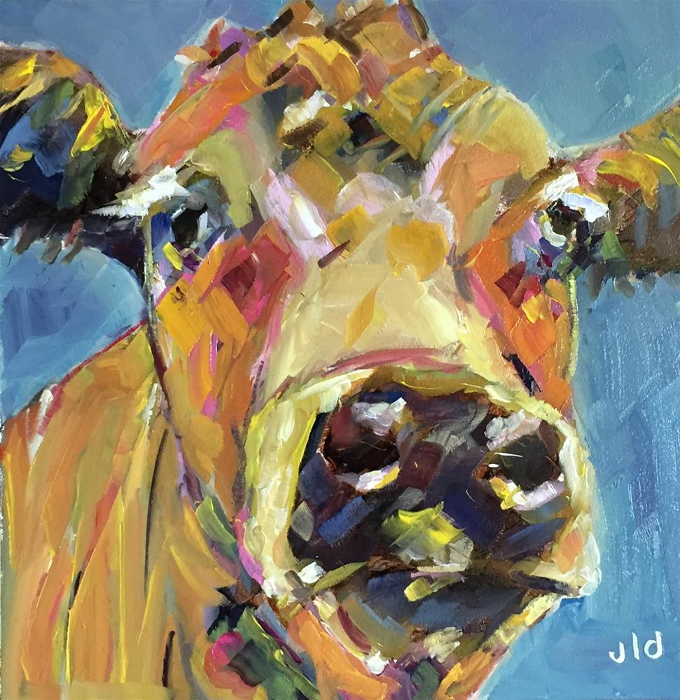 """Cow 64 Another day"" original fine art by Jean Delaney"