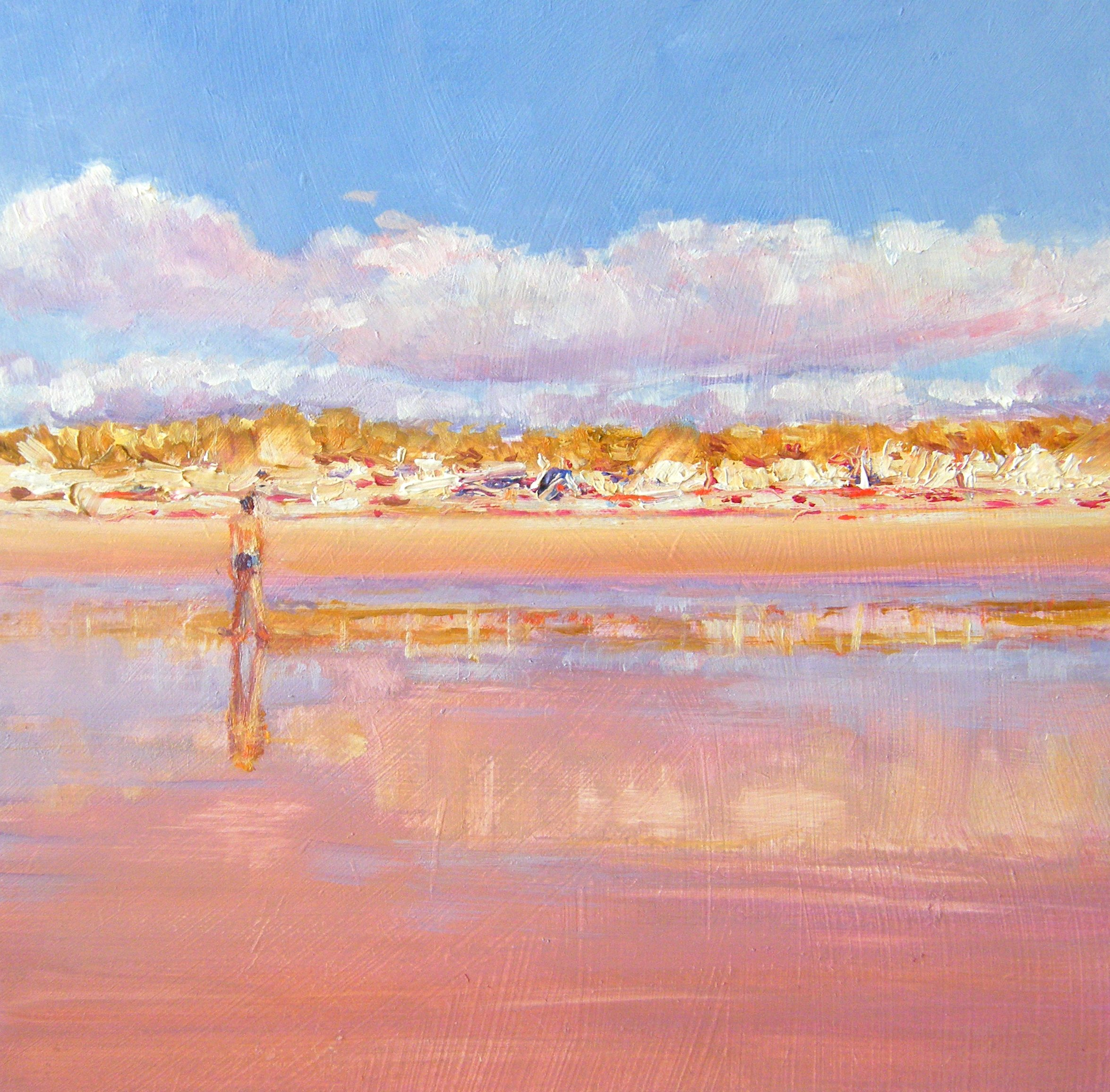 """Stroll On a French Beach"" original fine art by Ken Devine"