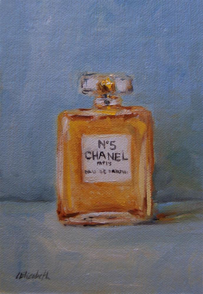 """Chanel No.5,  Oil on 4x6 Linen Panel"" original fine art by Carolina Elizabeth"