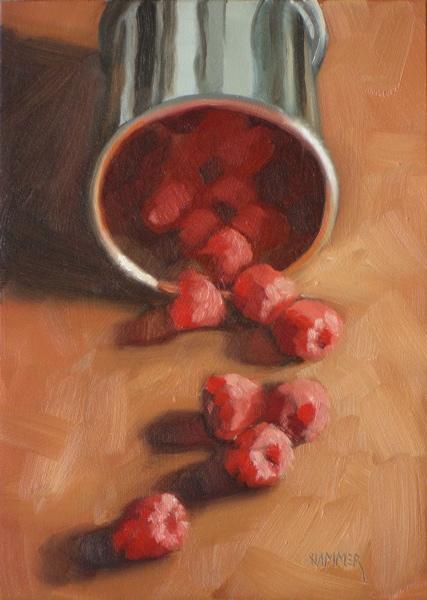 """Raspberry trail 5x7 oil on gessobord"" original fine art by Claudia Hammer"