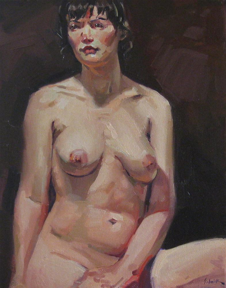 """Nude on Brown Velvet female figure painting wall art boudoir portrait"" original fine art by Sarah Sedwick"