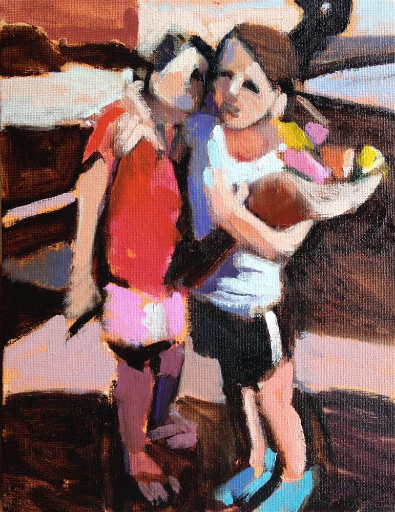 """Sisters With Zinnias"" original fine art by Pamela Hoffmeister"