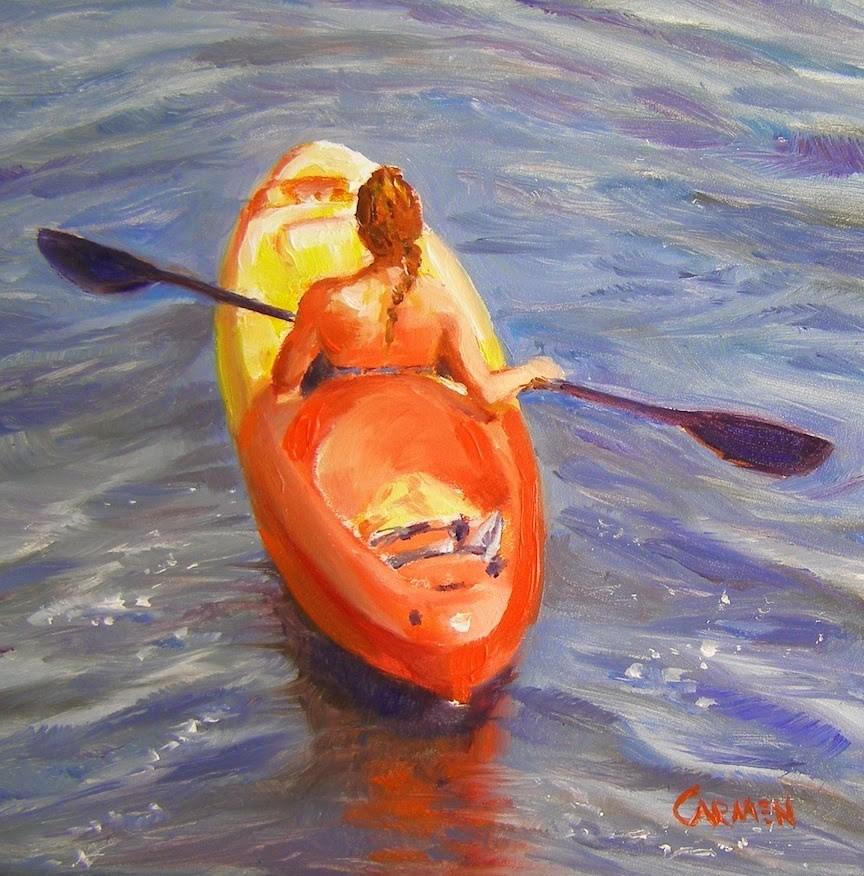 """""""Girl in a Kayak, 6x6 Oil on Board"""" original fine art by Carmen Beecher"""