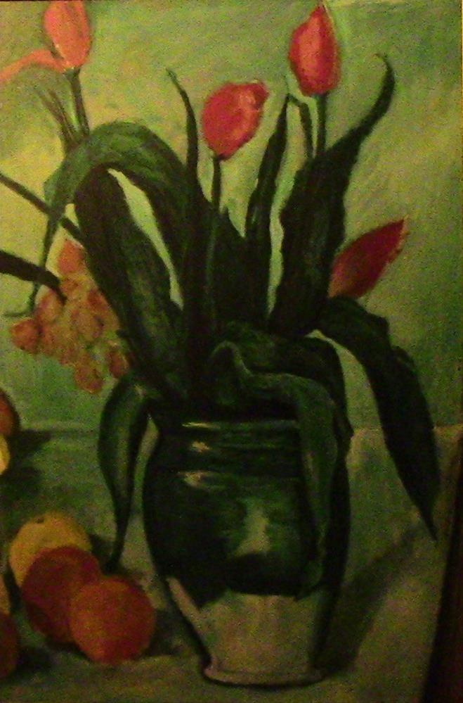 """Tulips aft Cezanne"" original fine art by Fred Medley"