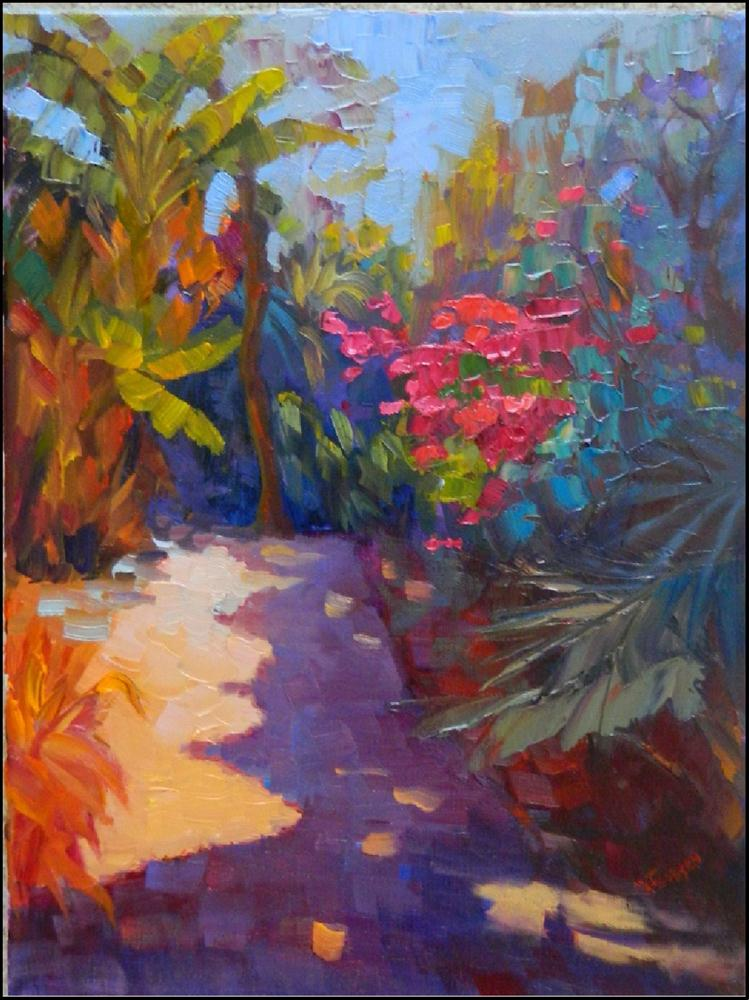 """Gail's Old Florida Garden, 12x16, oil on canvas, plein air, Florida gardens, banana trees, Old Flo"" original fine art by Maryanne Jacobsen"