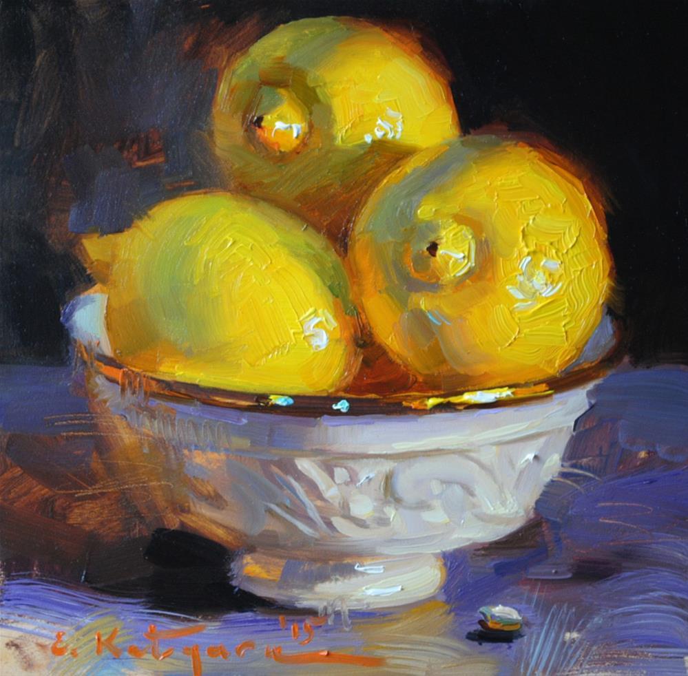 """Three Lemons"" original fine art by Elena Katsyura"
