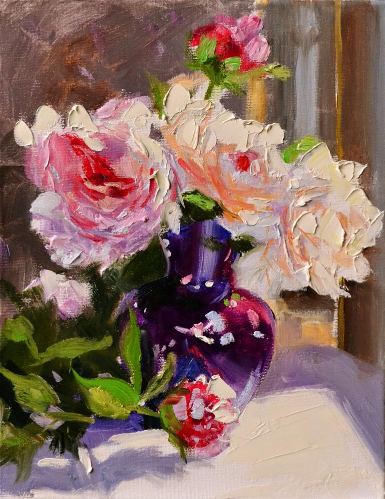 """PEONIES IN PURPLE VASE"" original fine art by Cecilia Rosslee"