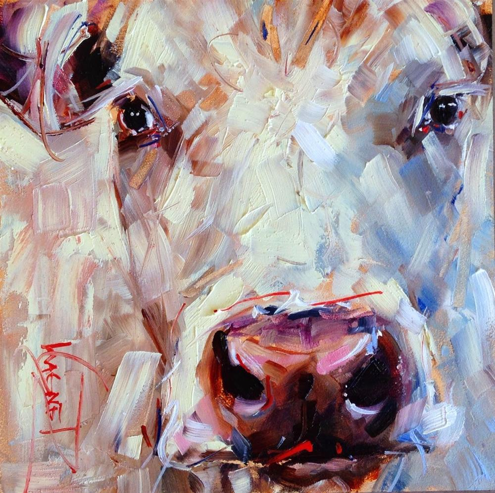"""ORIGINAL CONTEMPORARY WHITE COW PAINTING in OILS by OLGA WAGNER"" original fine art by Olga Wagner"