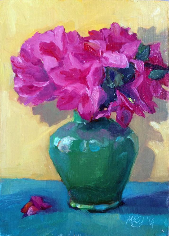 """""""Azealeas in green vase"""" original fine art by Myriam Kin-Yee"""