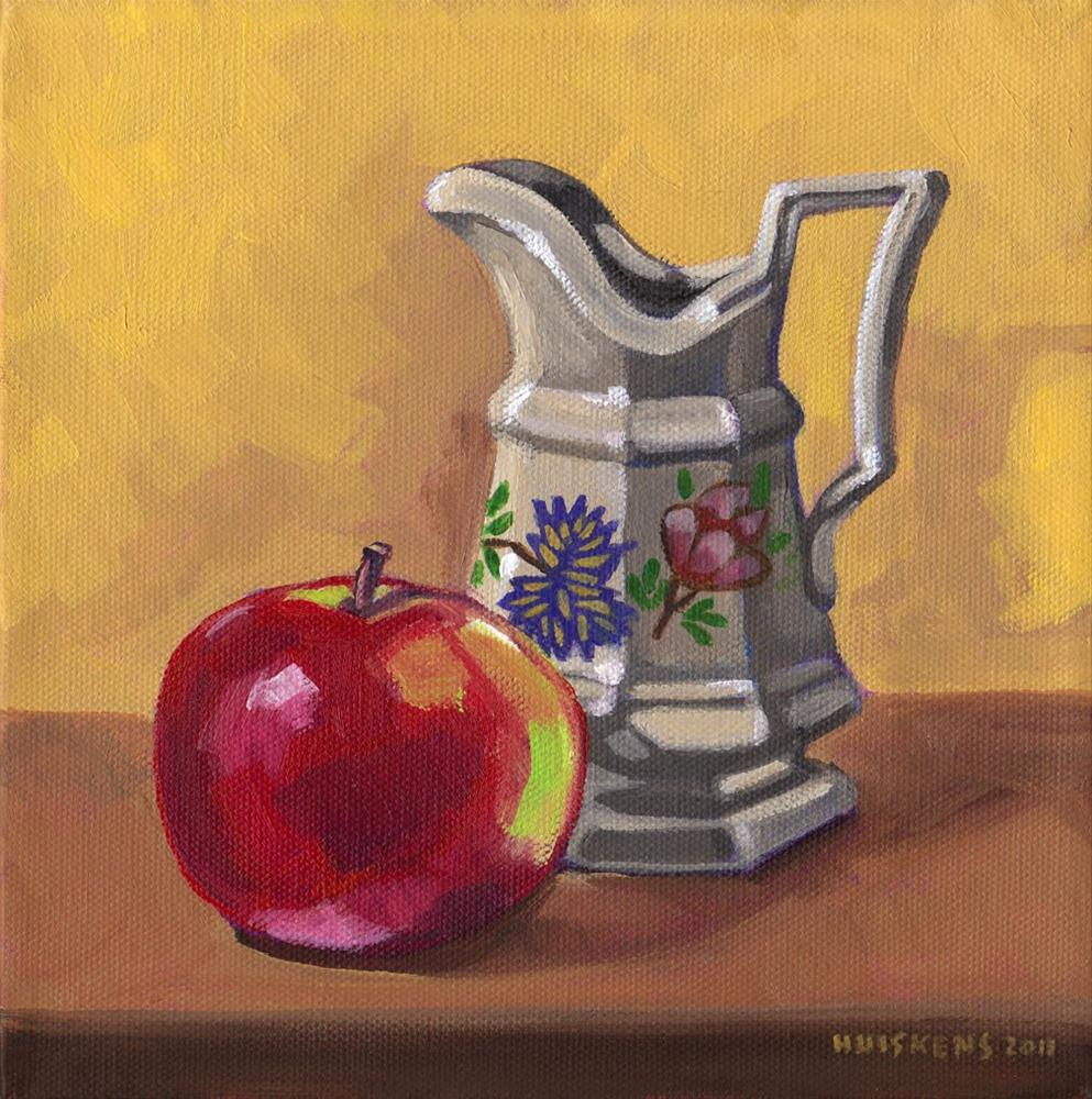 """Apple And Decorative Pitcher"" original fine art by Randal Huiskens"