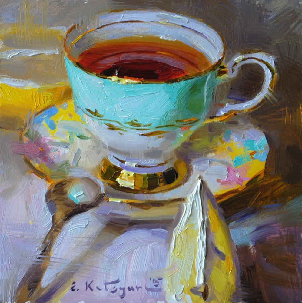 """""""Lemon in your Tea?"""" original fine art by Elena Katsyura"""