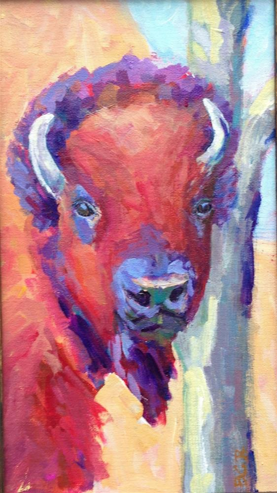 """Thoughtful Buffalo"" original fine art by Beth Carrington Brown"