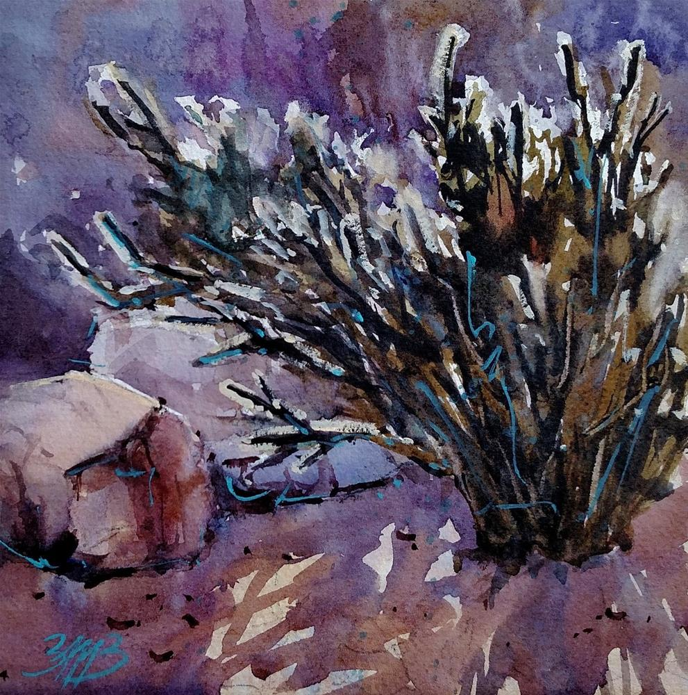 """Morning Cactus"" original fine art by Brienne M Brown"