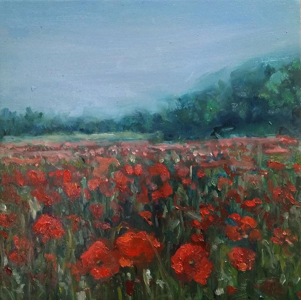 """""""Field of poppies II"""" original fine art by Aleksandra Uzarek"""