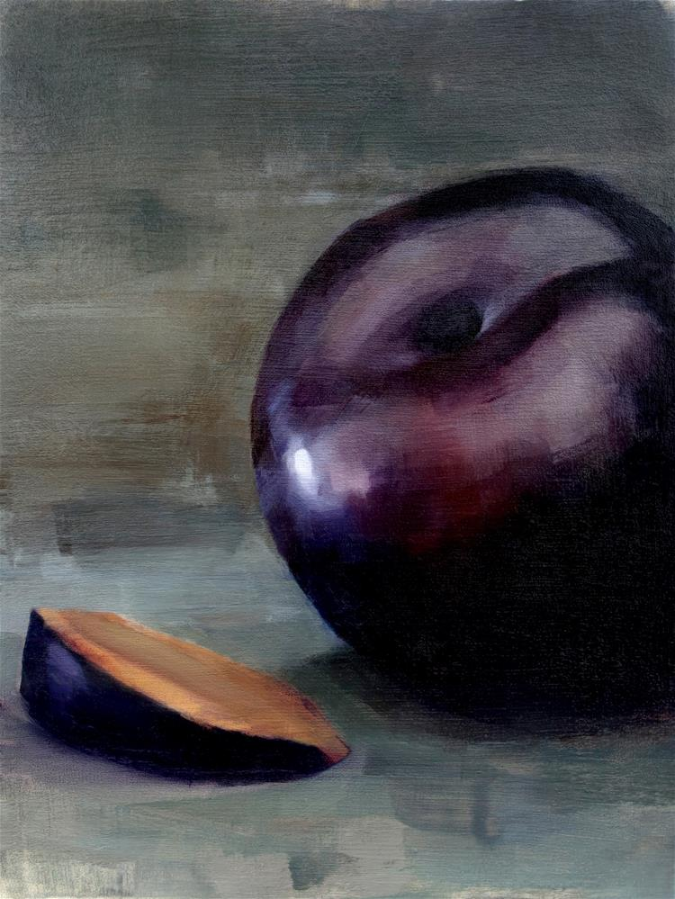 """Black Plum and Slice (no.112)"" original fine art by Michael William"