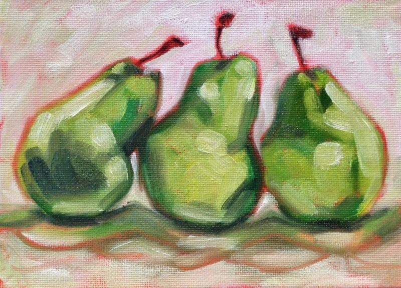 """""""Three-Pear Study II"""" original fine art by Beth Moreau"""