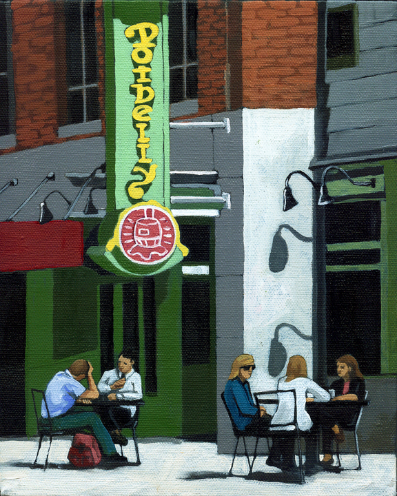 """CITY LUNCHTIME"" original fine art by Linda Apple"