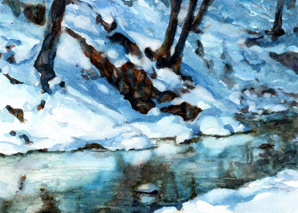 """Snow Banks"" original fine art by Linda Henry"